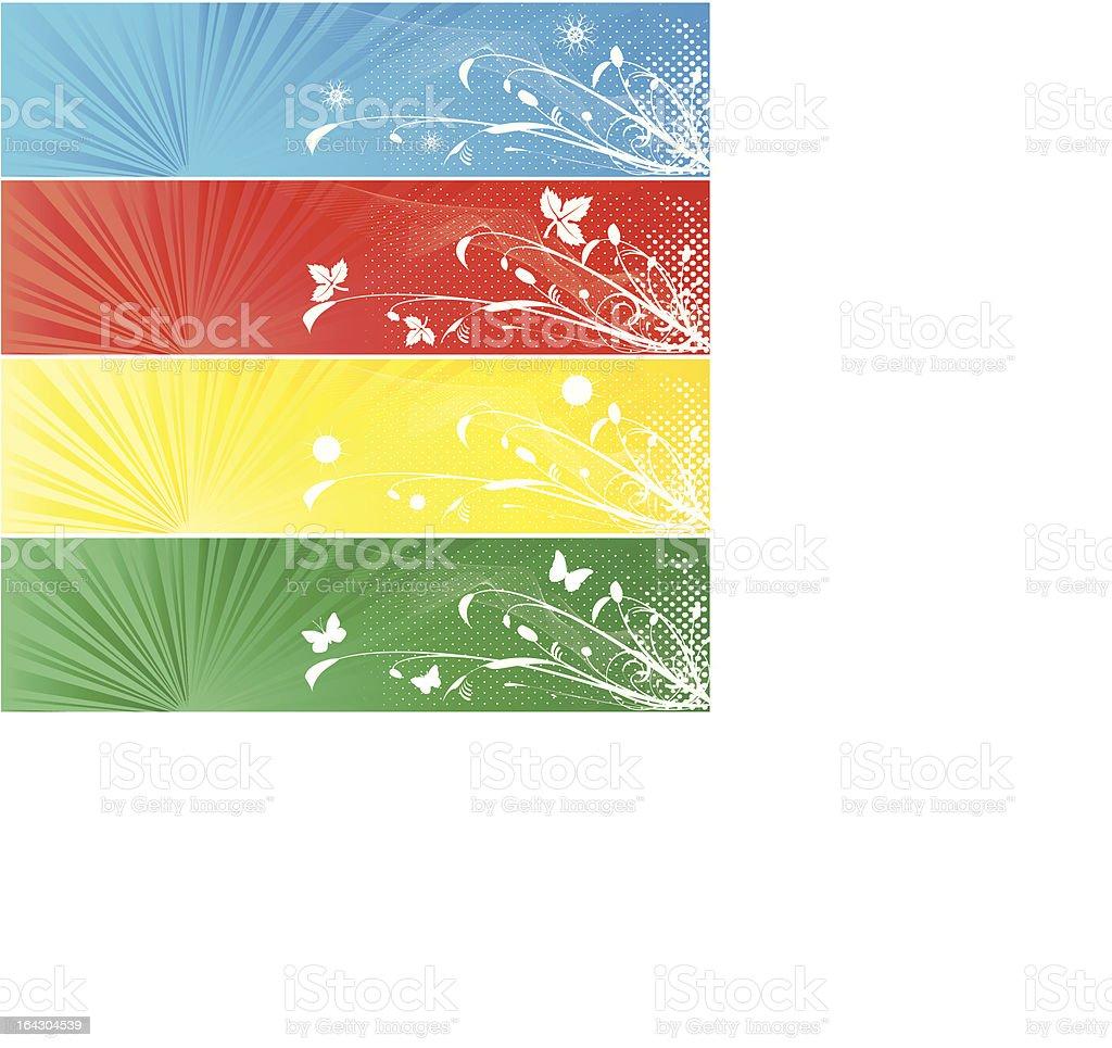 Four season banner- all elements isolated- easily editable royalty-free stock vector art