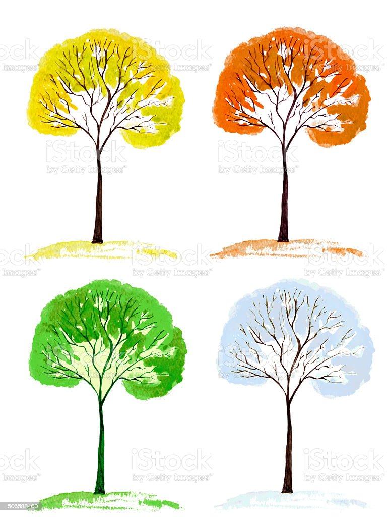 Four Season Tree vector art illustration