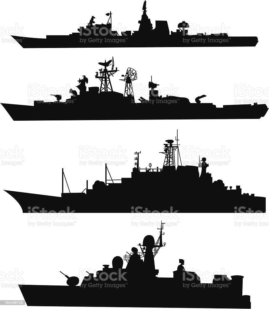 Four silhouettes of a ship vector art illustration