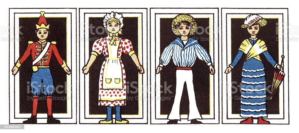 Four Victorian dolls in a row vector art illustration