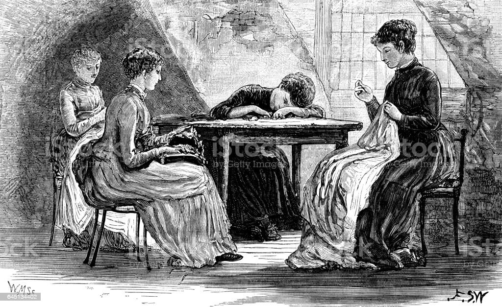 Four Victorian women sewing in an attic vector art illustration