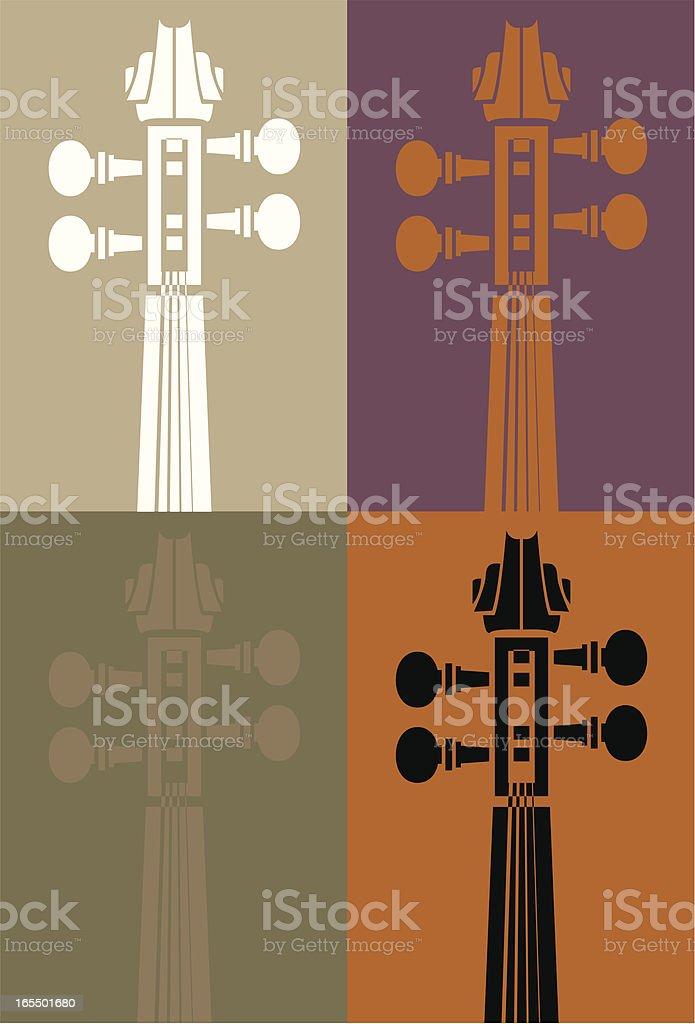 Four violins vector art illustration