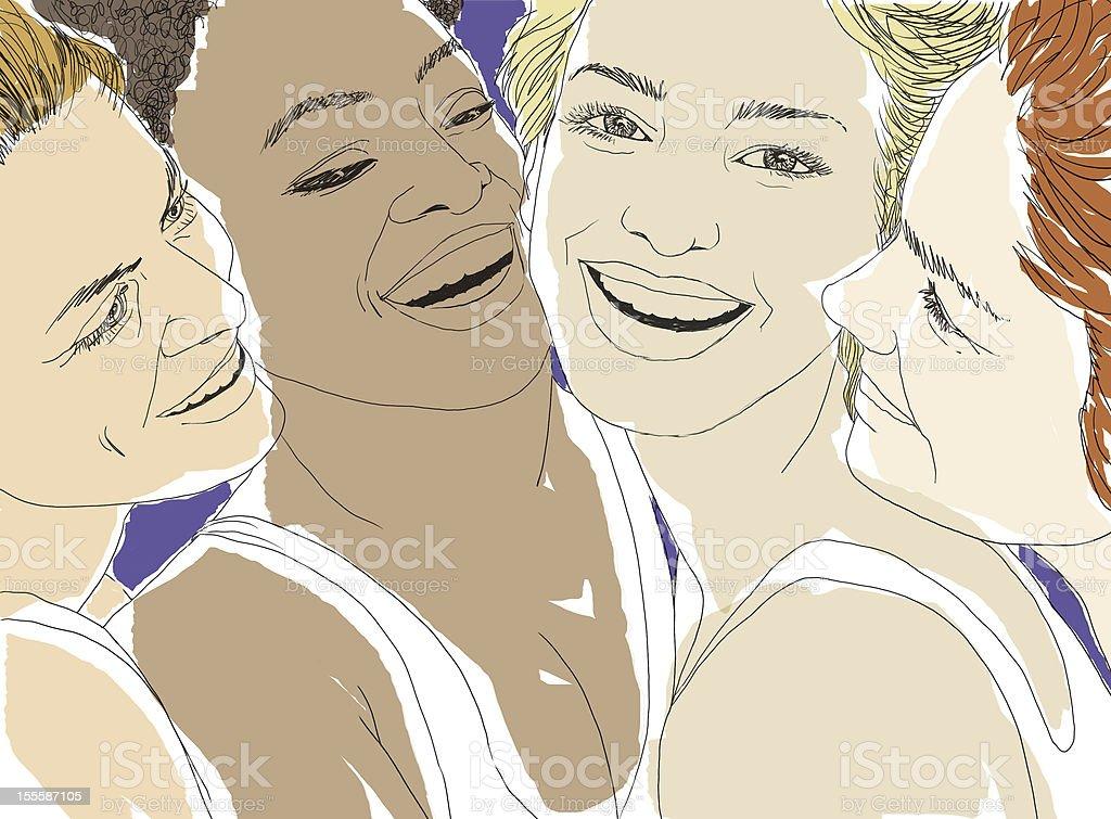 Four women vector art illustration