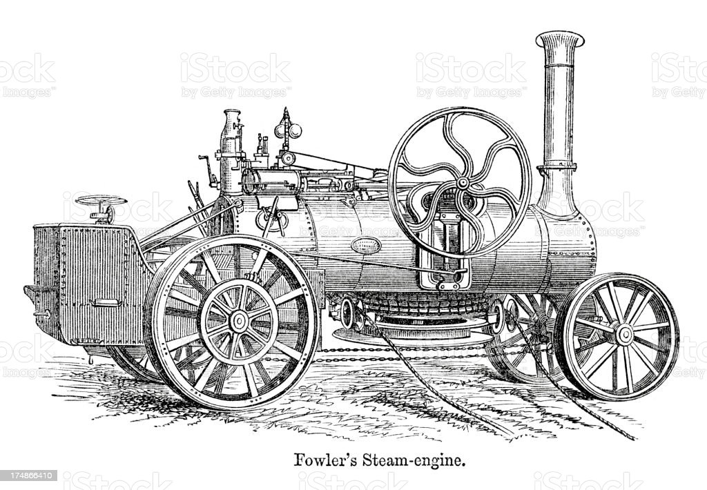 Fowler's Steam Engine royalty-free stock vector art