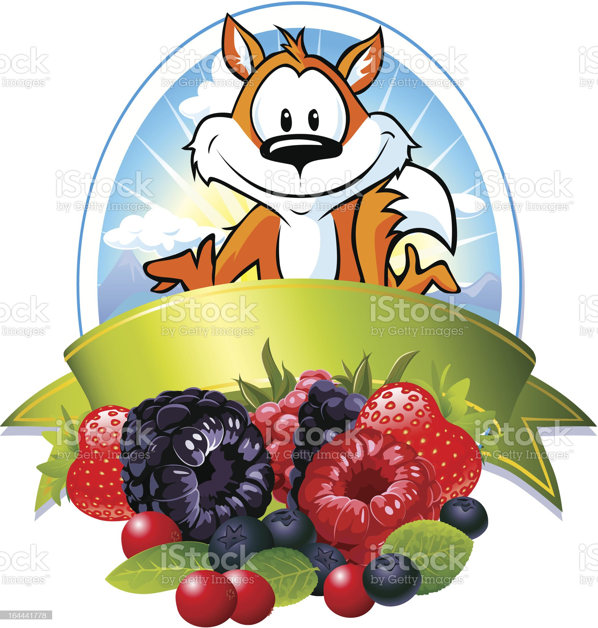 fox and berries in the oval frame with ribbon royalty-free stock vector art