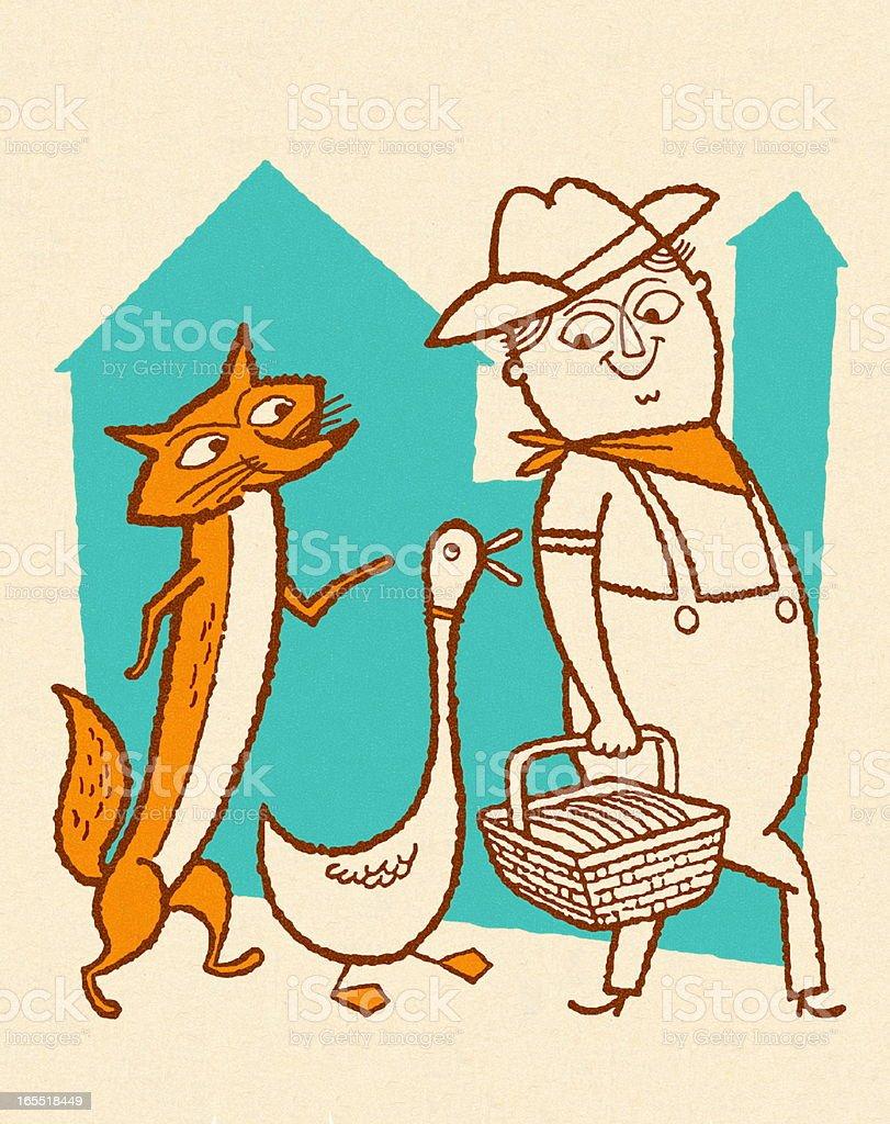Fox and Duck Walking Behind a Farmer royalty-free stock vector art