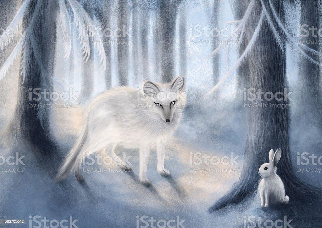 Fox and Rabbit - Illustration vector art illustration