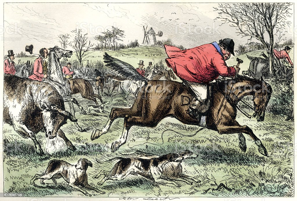 Fox hunting man being chased by a bull vector art illustration