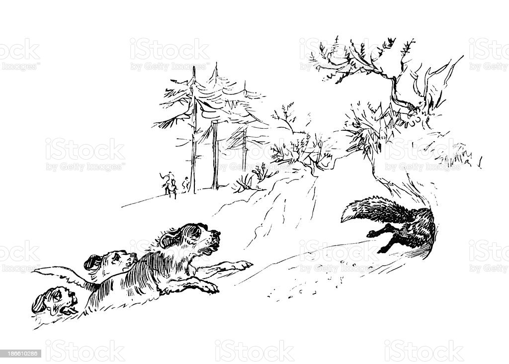 Foxhounds chasing a fox into its earth royalty-free stock vector art