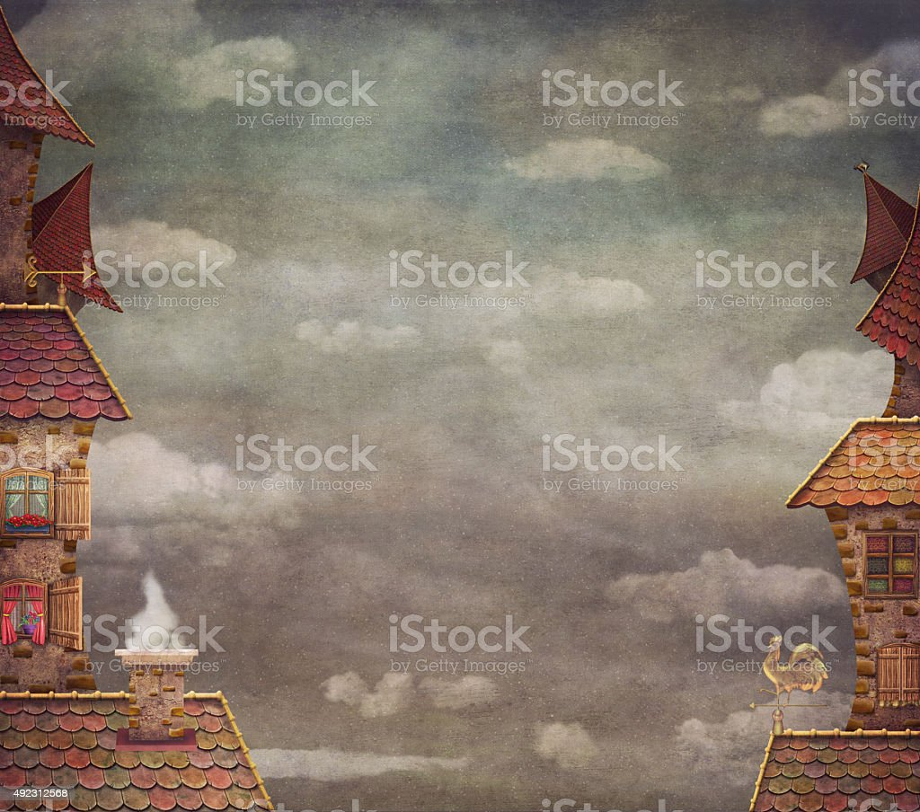 Fragment of a city .Tile Roofs with red sky vector art illustration