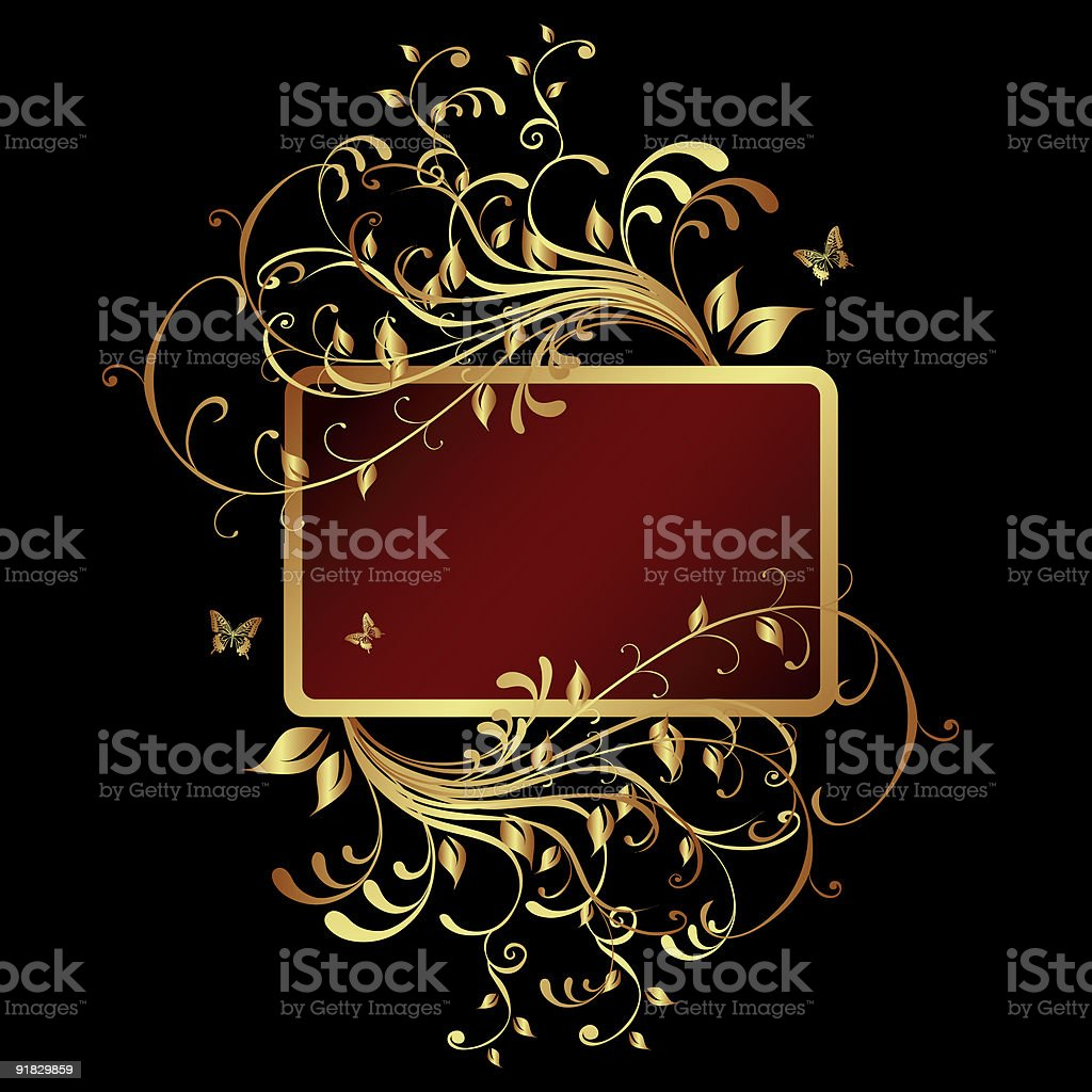 Frame Banner with Golden Ornament royalty-free stock vector art