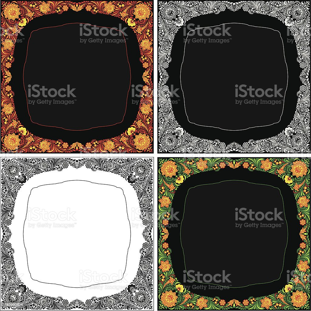 Frame in Khokhloma Style royalty-free stock vector art
