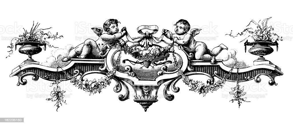 Frame with cherubs | Antique Design Illustrations vector art illustration