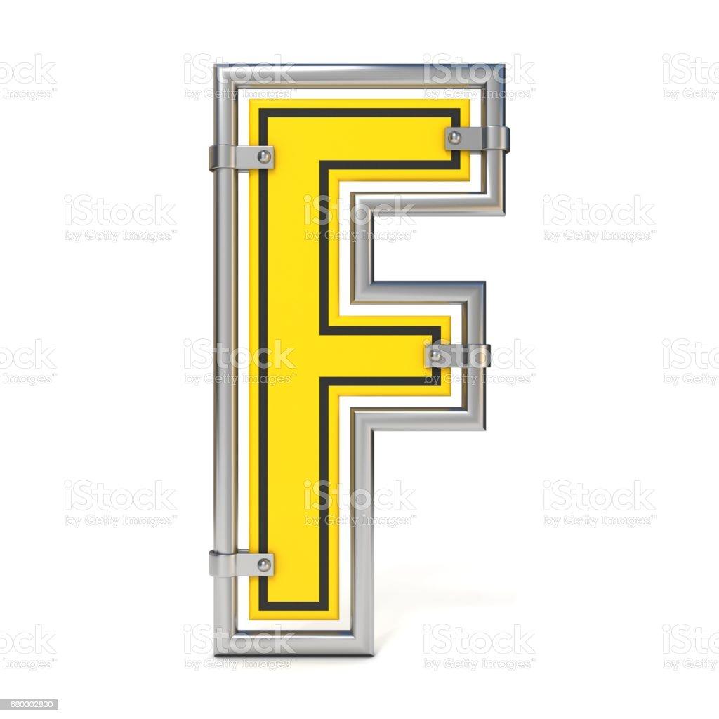 Framed traffic road sign FONT letter F 3D vector art illustration