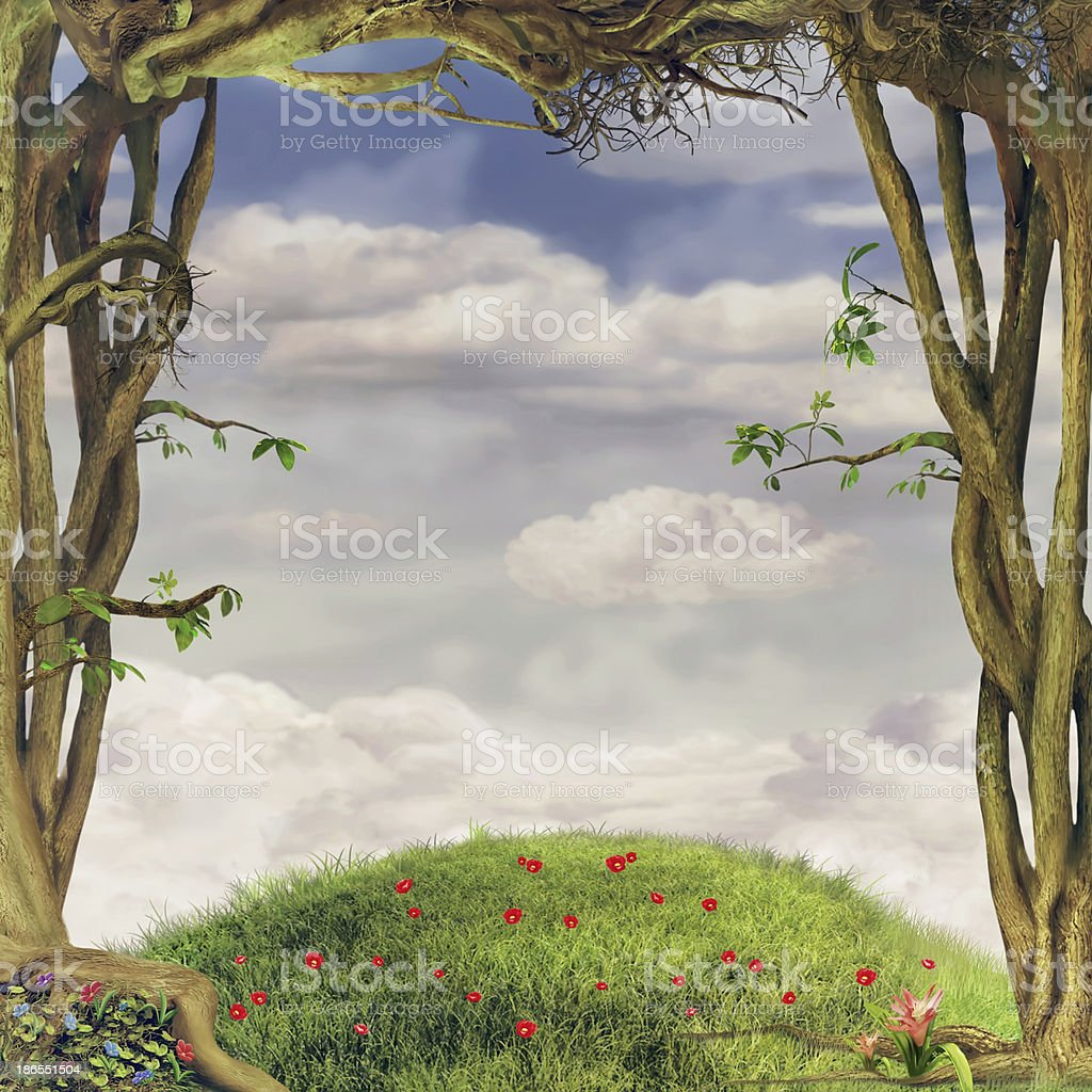 Frames of trees vector art illustration