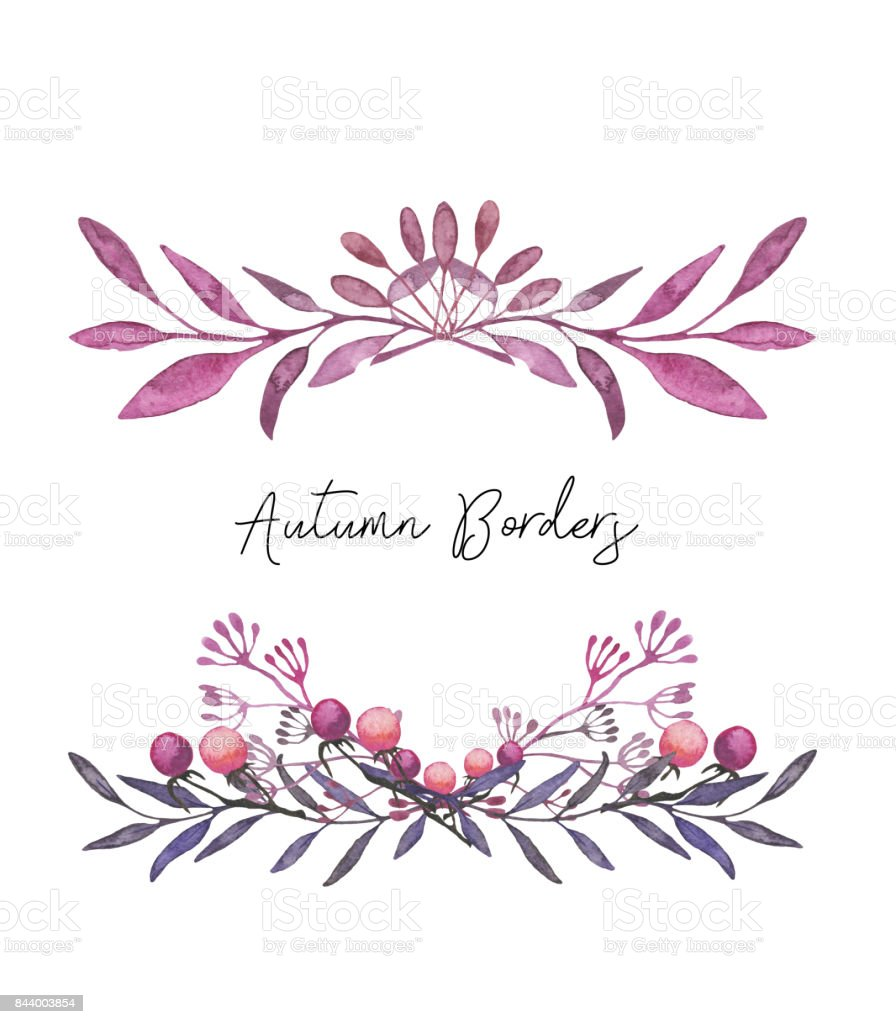 Frames with autumn leaves and berries. Hand drawn watercolor illustration vector art illustration