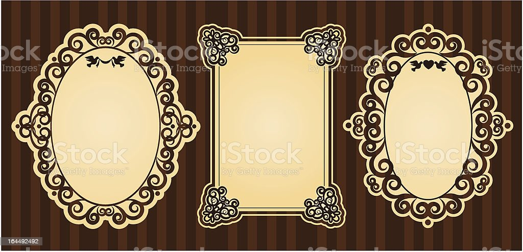 Frames with lace ornaments on vintage background. Vector royalty-free stock vector art