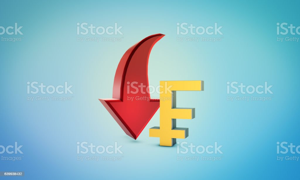 Franc Down Symbol - Forex and Bourse Concept stock photo