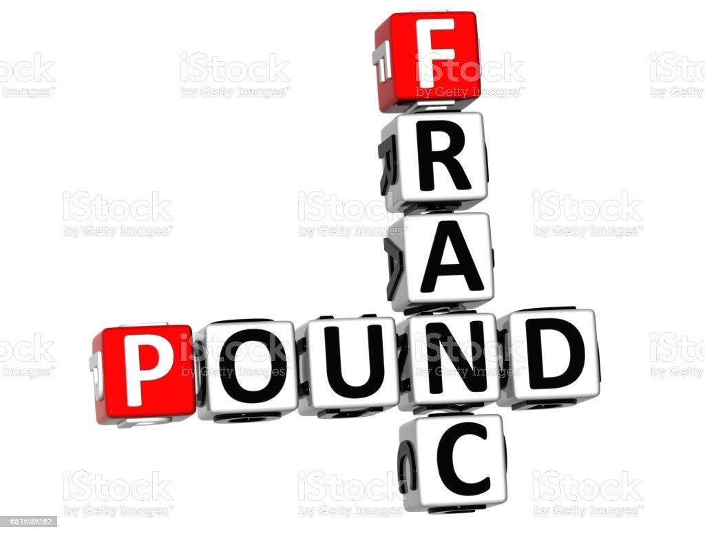 3D Franc Pound Crossword vector art illustration