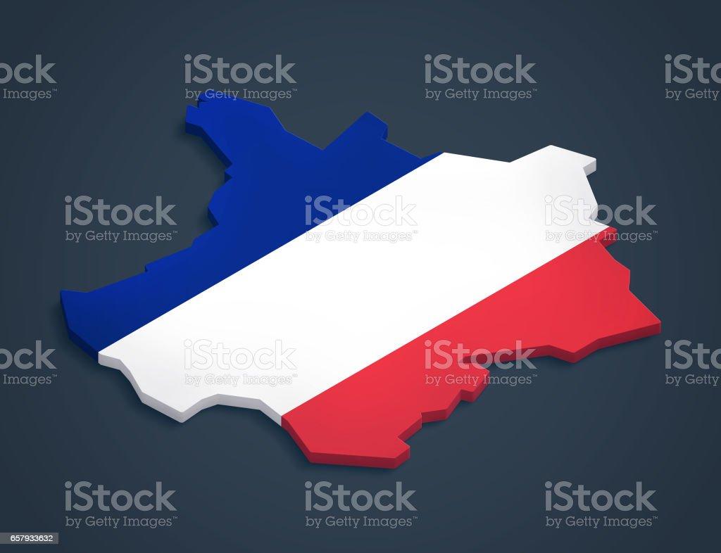 France 3D map dark background vector art illustration