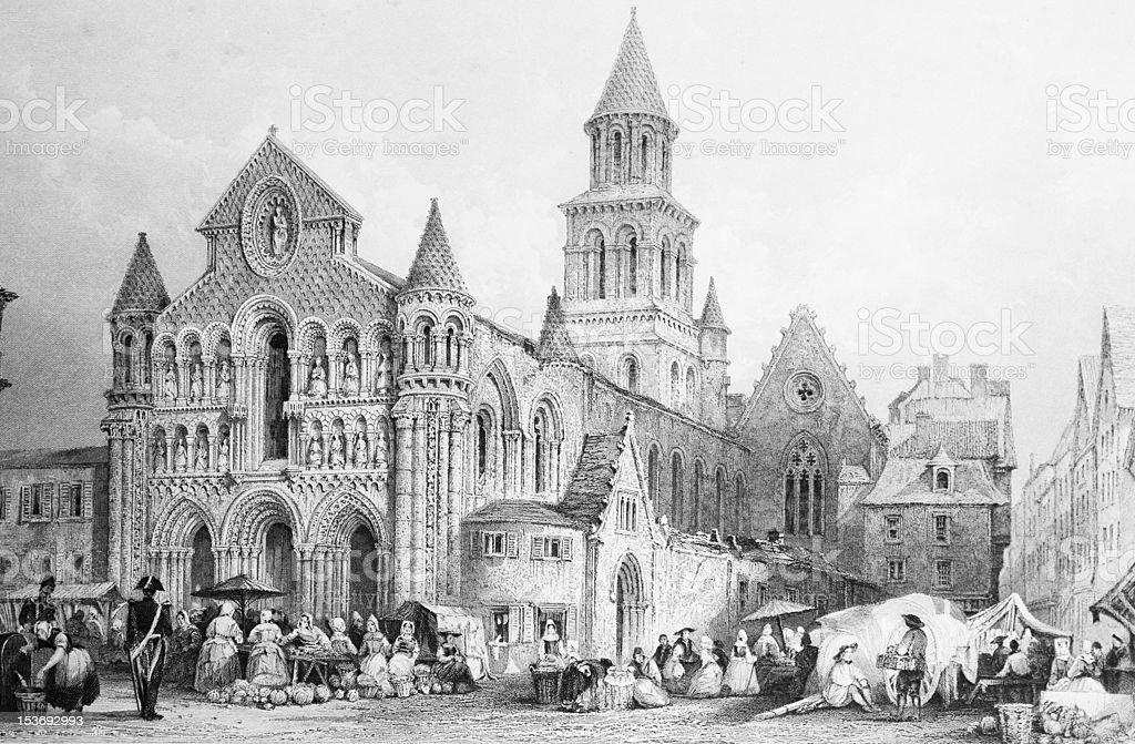 France: Engraving, Notre Dame de la Garde, Poitiers vector art illustration