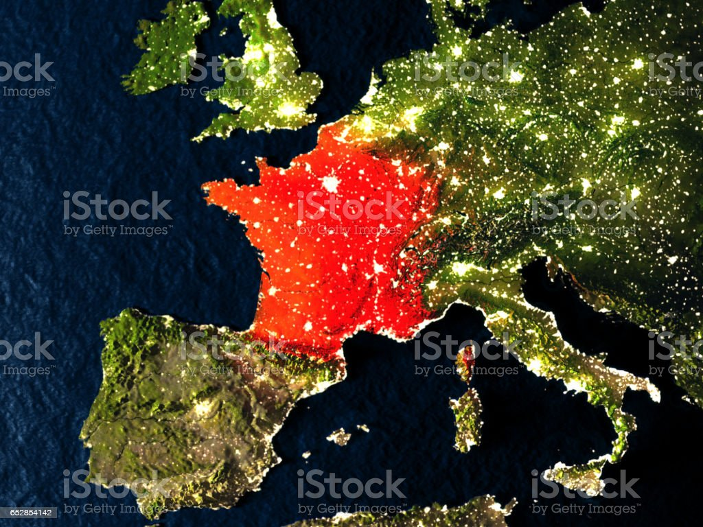 France in red from space at night vector art illustration