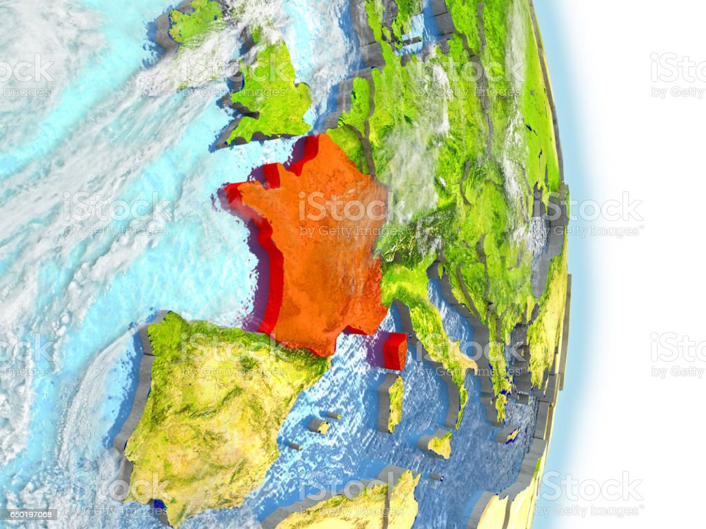 France in red on Earth vector art illustration