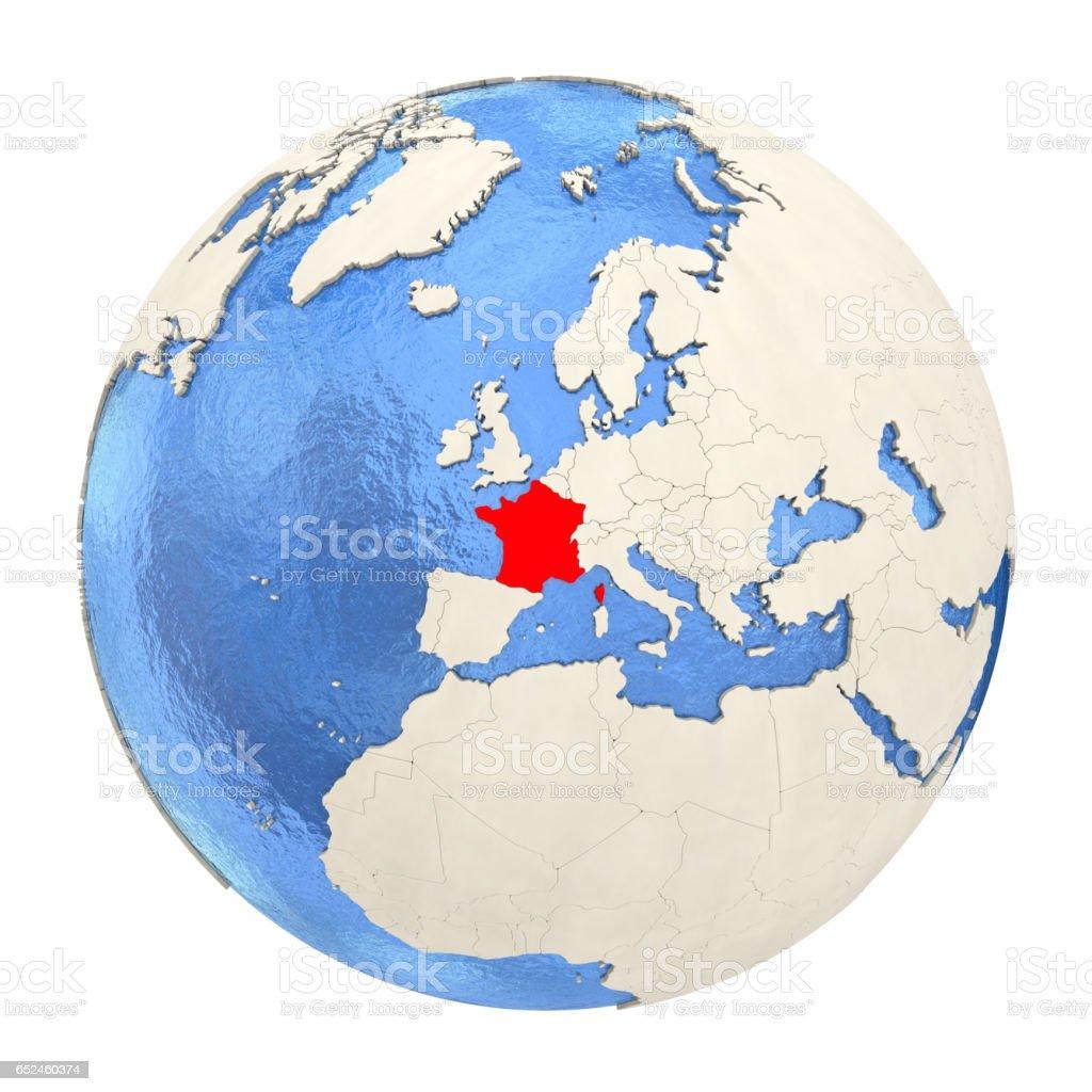 France in red on full globe isolated on white vector art illustration