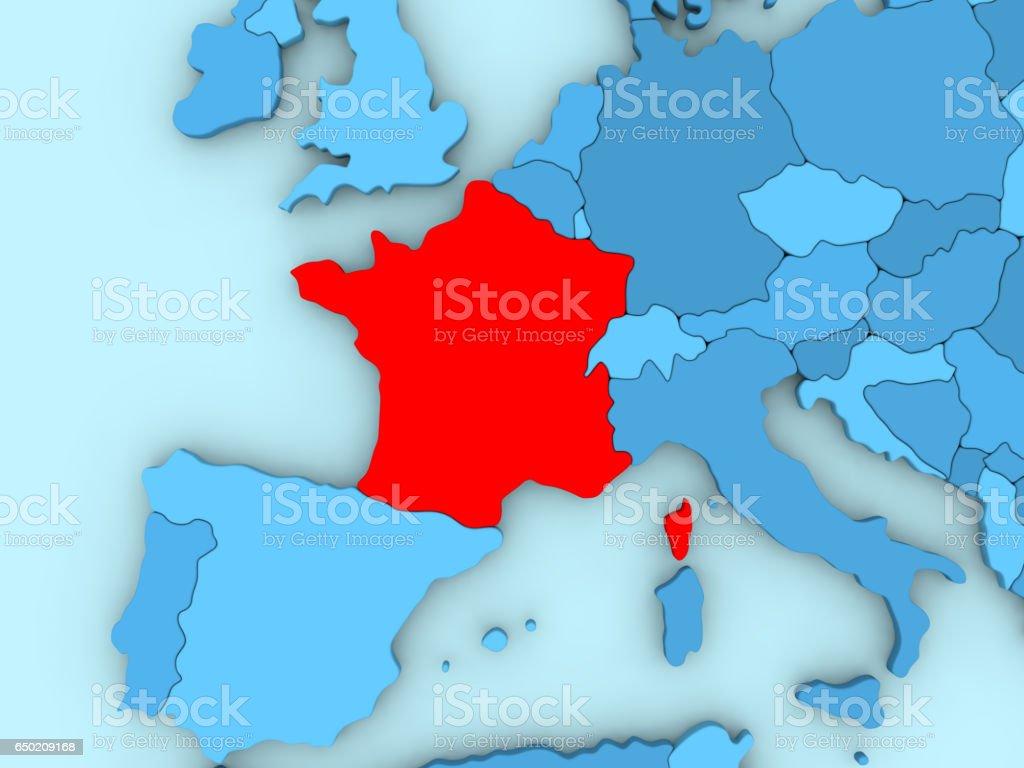 France on 3D map vector art illustration