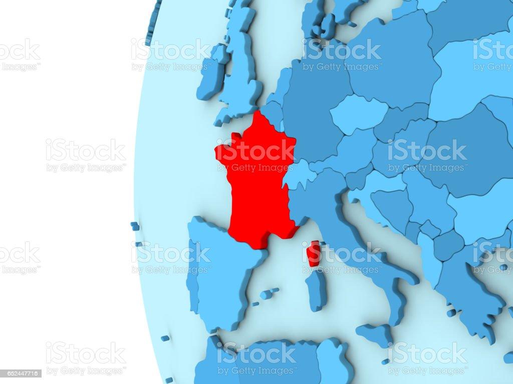 France on blue globe vector art illustration