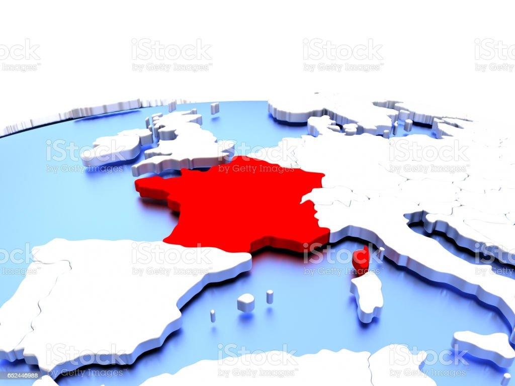 France on globe vector art illustration