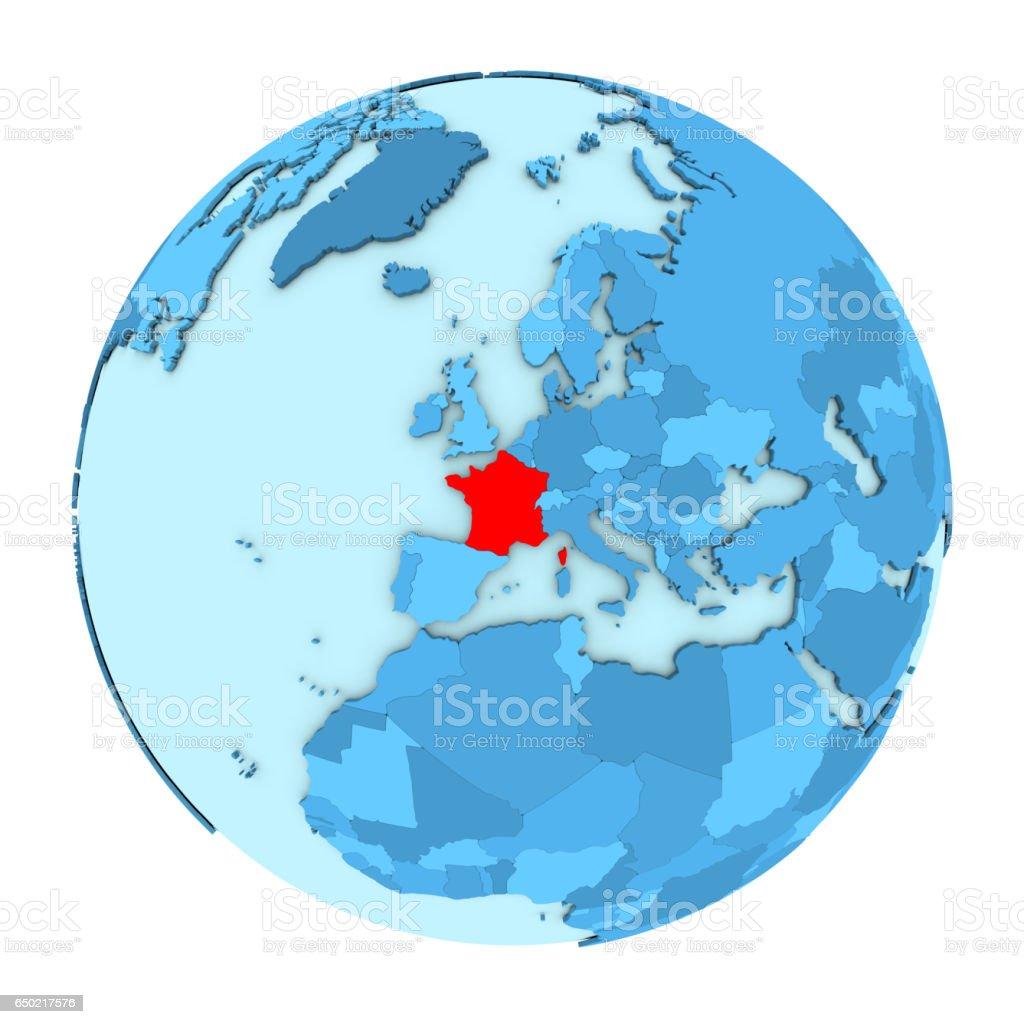 France on globe isolated vector art illustration