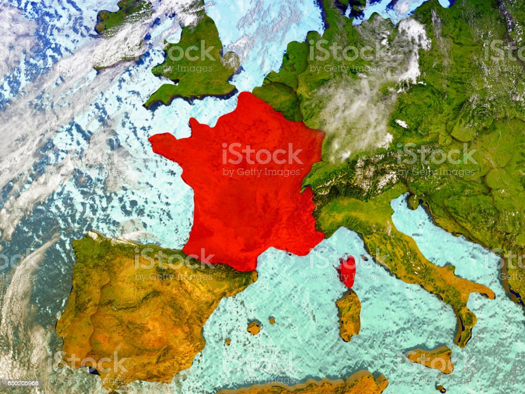 France on illustrated globe vector art illustration