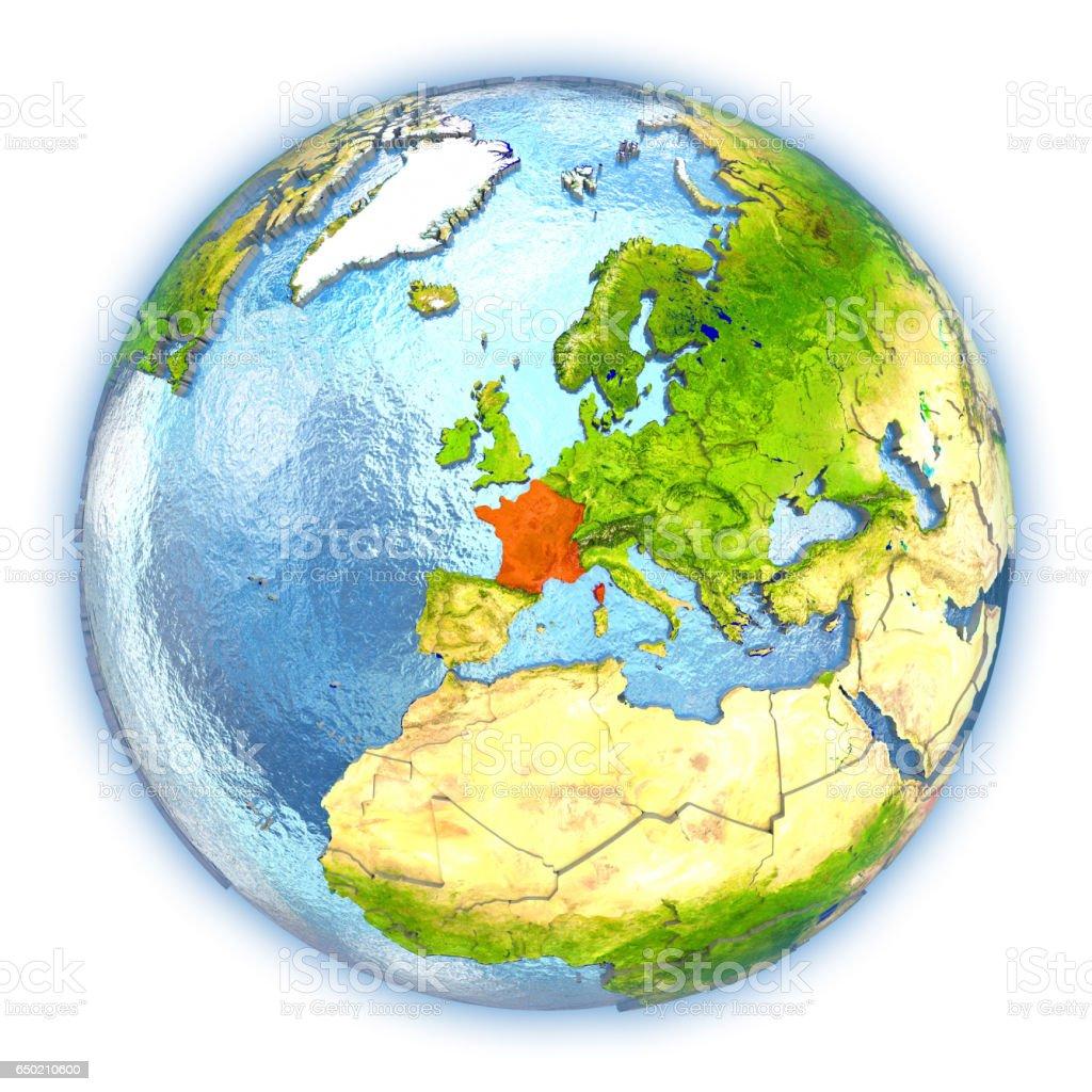 France on isolated globe vector art illustration
