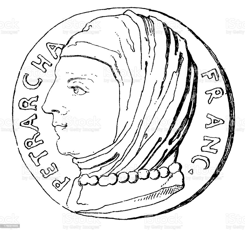 Francesco Petrarca | Antique Portrait Gallery royalty-free stock vector art
