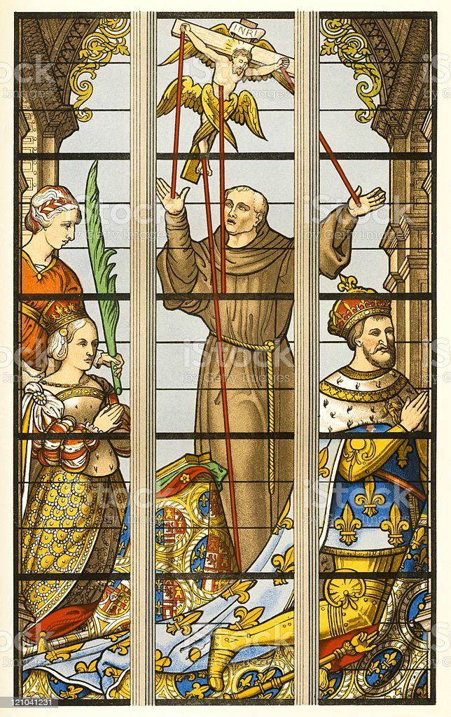 Francis I, King of France, Prays in Stained Glass Print royalty-free stock vector art