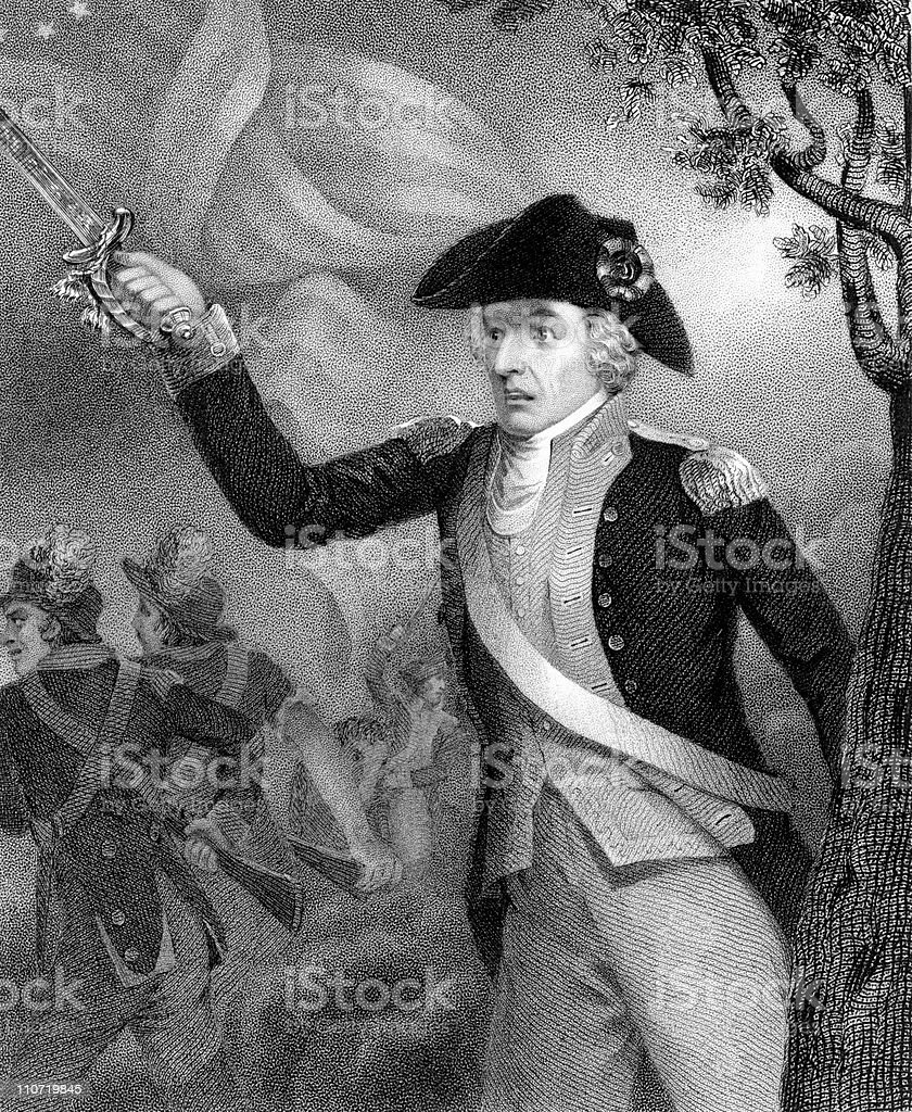 Francis Marion Charging at American Revolution, Battle of Eutaw Springs royalty-free stock vector art