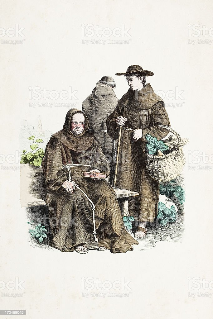 Franciscan monk with traditional costumes from 19th century royalty-free stock vector art
