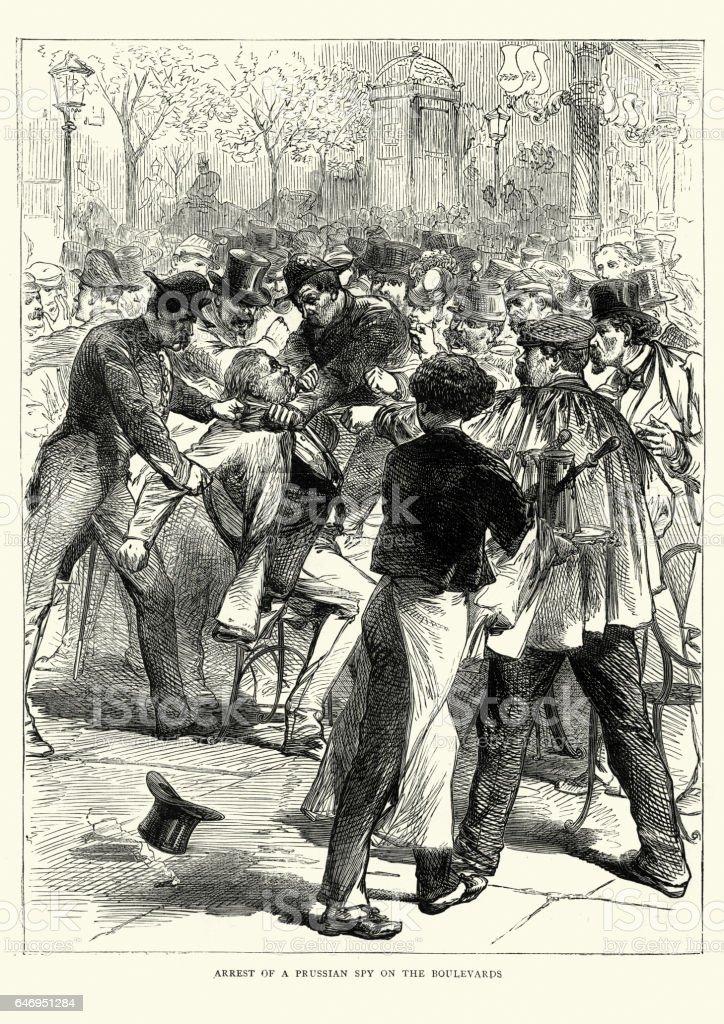 Franco Prussian War arrest of a german spy in Paris vector art illustration