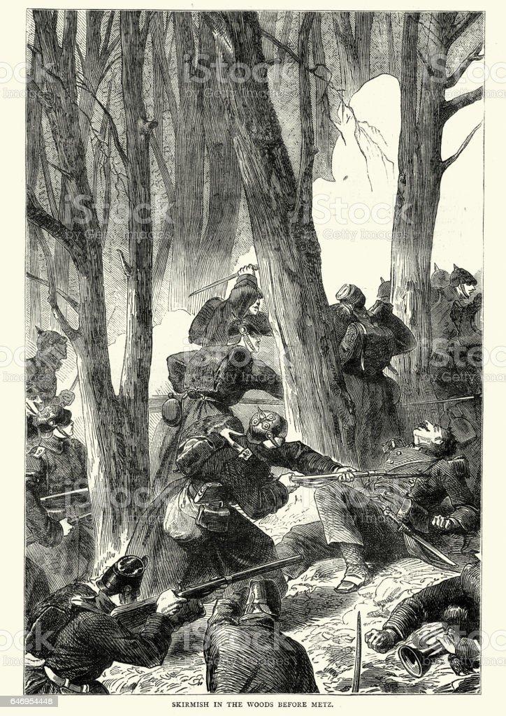 Franco Prussian War - Skirmish before Metz vector art illustration