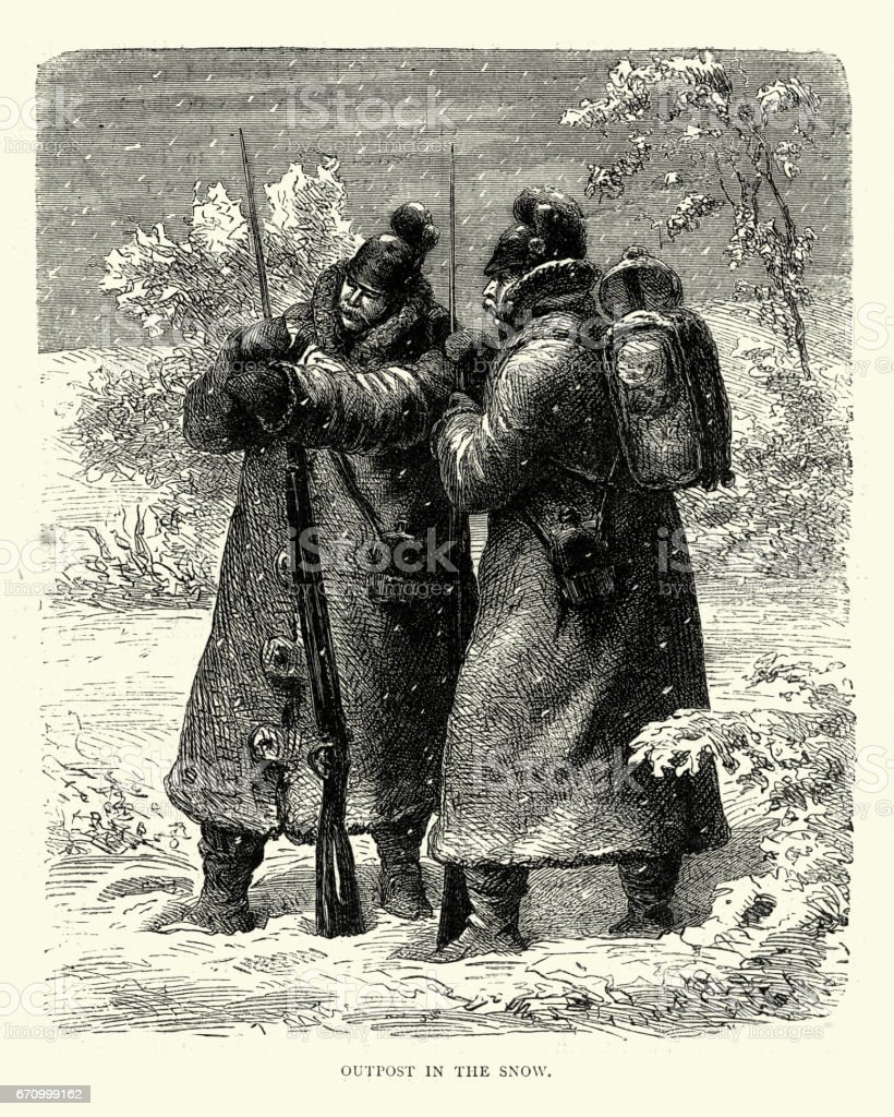Franco Prussian War -  Soldiers on guard in snow vector art illustration