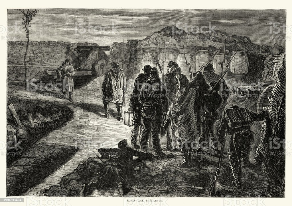 Franco Prussian War Troops patrolling the ramparts vector art illustration