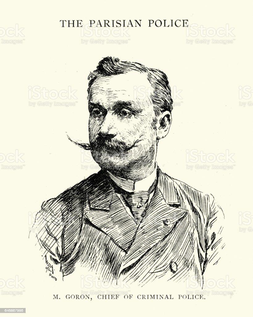 Francois-Marie Goron, Chief of Paris Criminal Police, 1892 vector art illustration