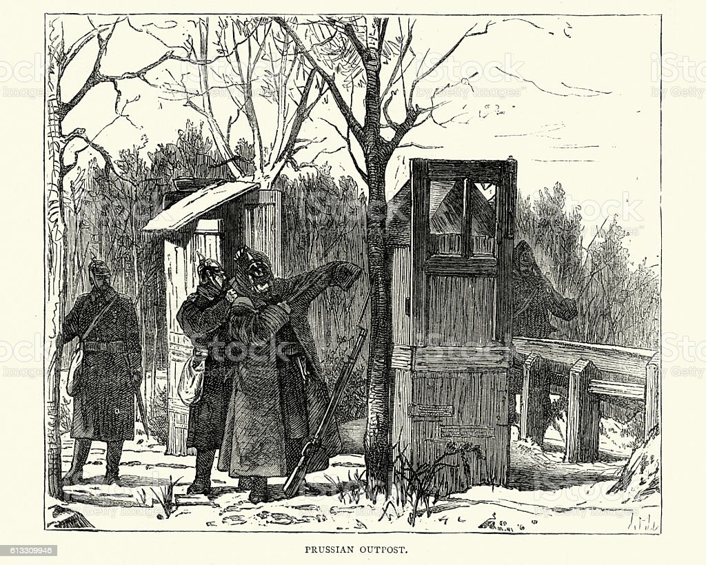 Franco-Prussian War Prussian Outpost vector art illustration