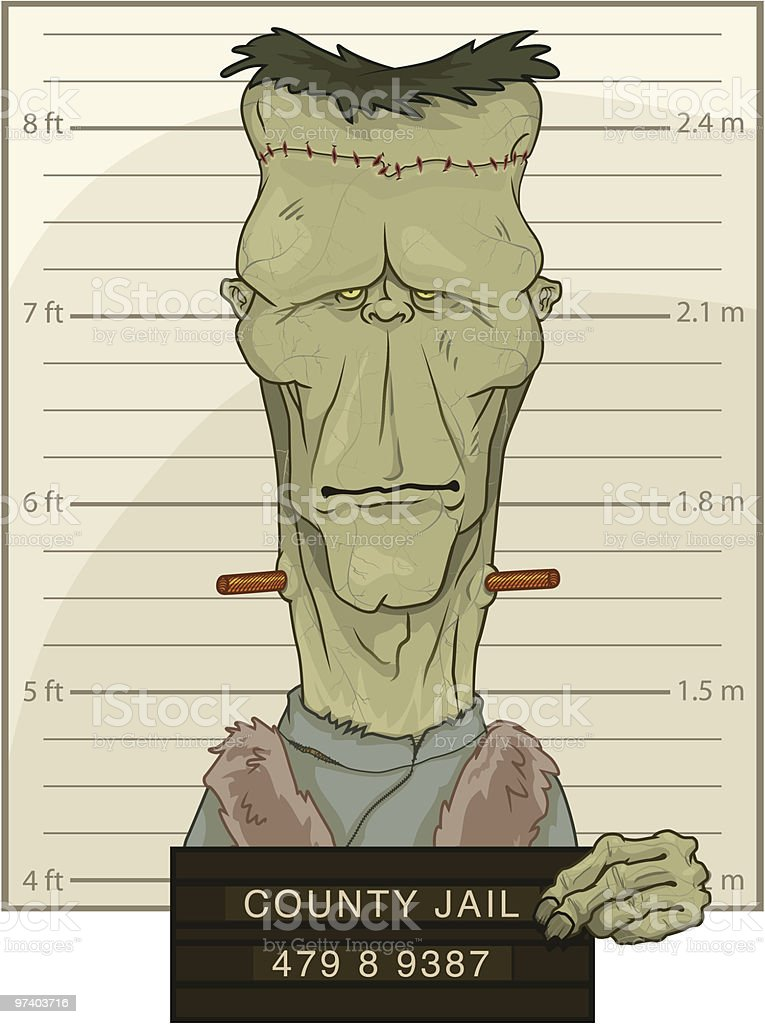 Frankenstein's Monster Mug Shot royalty-free stock vector art