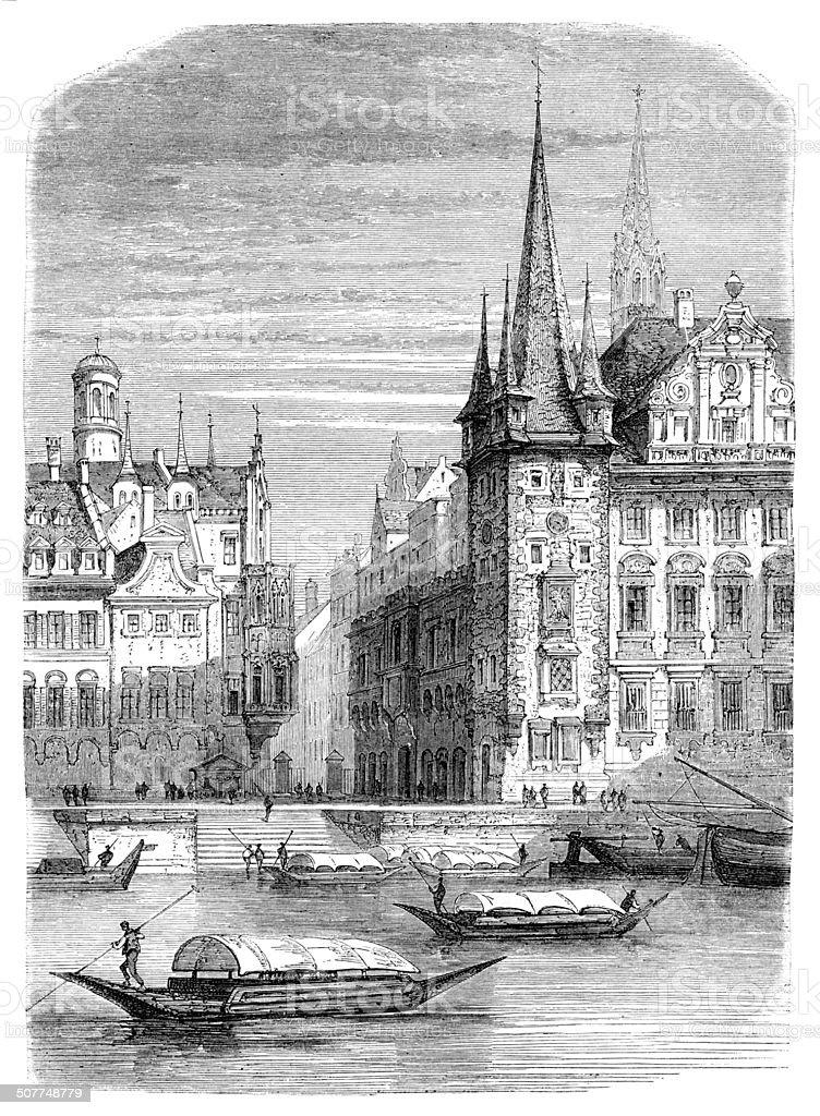 Frankfurt Rententurm near Römerberg Germany 1864 vector art illustration