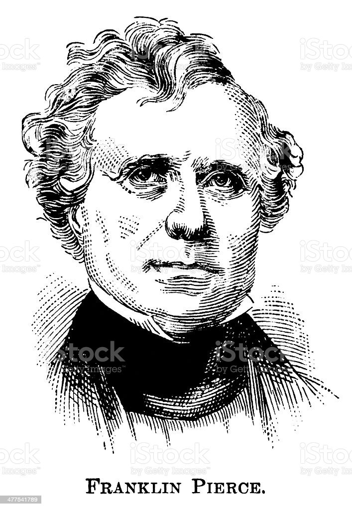 Franklin Pierce - Antique Engraved Portrait vector art illustration