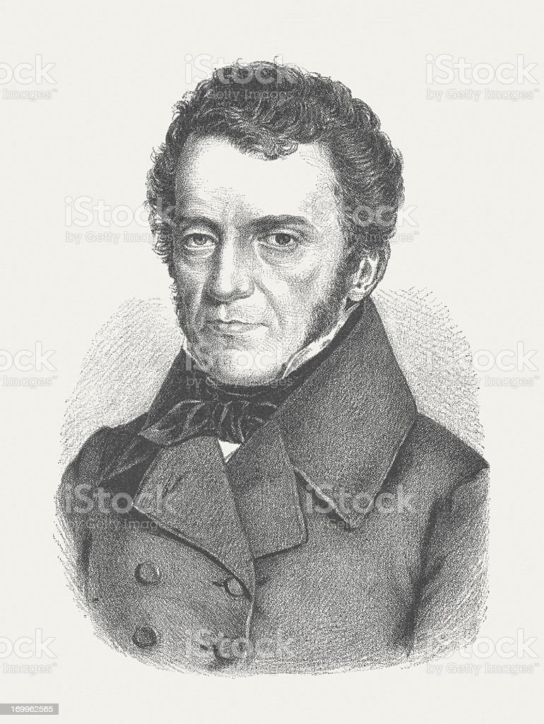 Franz Grillparzer (1791-1872), Austrian writer, wood engraving, published in 1882 royalty-free stock vector art