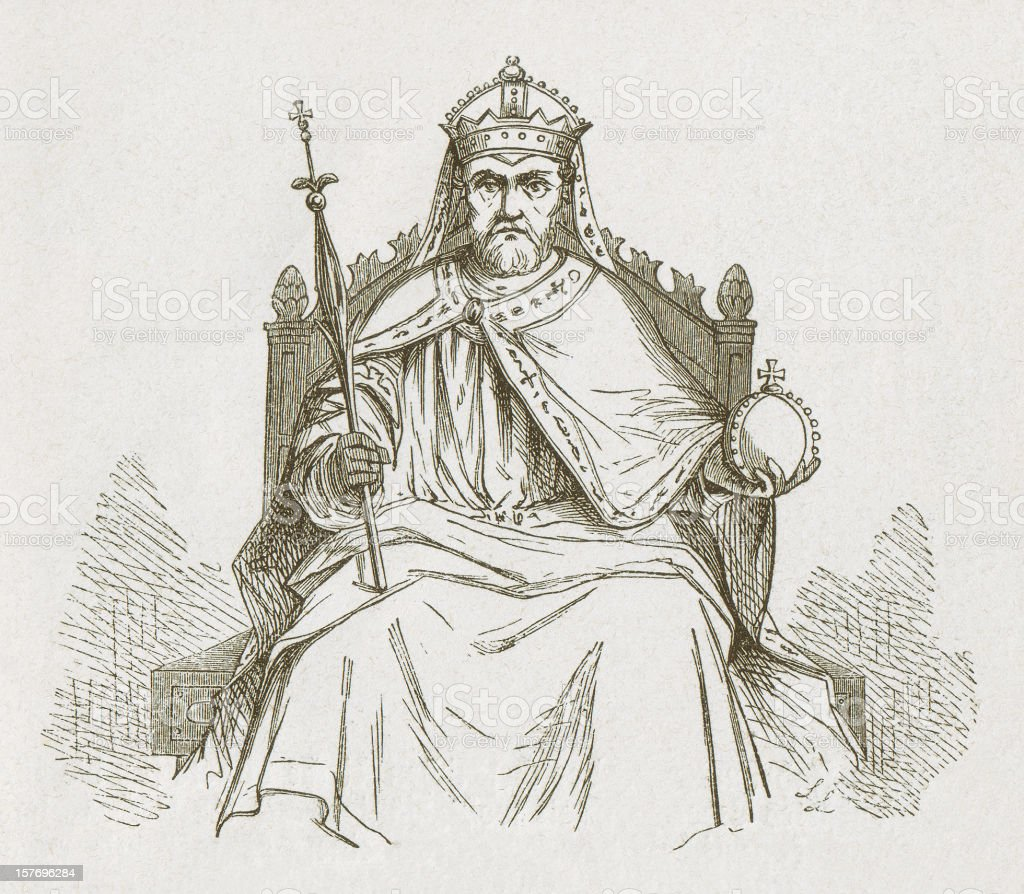 Frederick I (Barbarossa, c.1122-1190), Holy Roman Emperor, published in 1877 royalty-free stock vector art