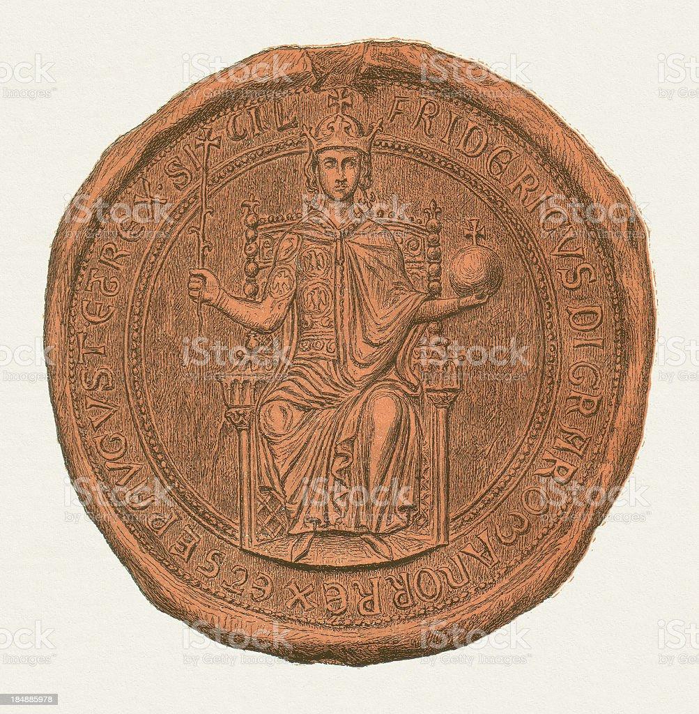 Frederick II (1194 - 1250), seal, published in 1880 vector art illustration